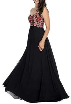 Decode 1.8 Strapless Embroidered Gown