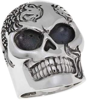 King Baby Studio Jewelry Sterling Silver Men's Koi Fish Skull Ring