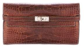 Hermes Matte Alligator Kelly Longue Wallet - BROWN - STYLE