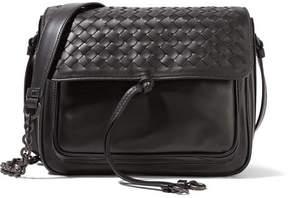 Bottega Veneta Saddle Small Intrecciato Leather Shoulder Bag - Black