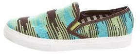 M Missoni Leather-Trimmed Slip-On Sneakers