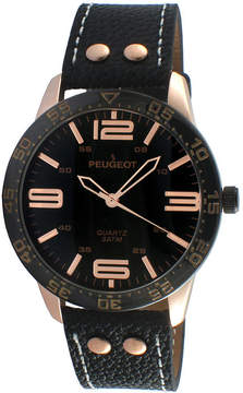 Peugeot Men's Black And Rose Gold Tone Leather Strap Watch 2049RBK