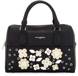 Karl Lagerfeld Paris Willow Saffiano Flower Applique Satchel Bag