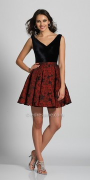 Dave and Johnny Floral Printed V-neck Homecoming Dress