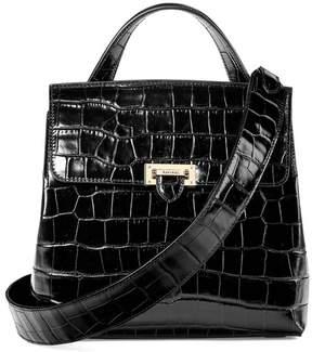 Aspinal of London Soho Backpack In Deep Shine Black Croc