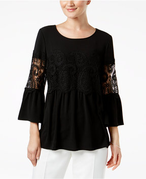 Cable & Gauge Bell-Sleeve Crochet-Trim Blouse