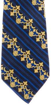 Gianni Versace Striped Ornate Silk Tie
