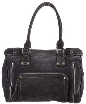Longchamp Zipper Accented Suede Tote - GREY - STYLE