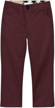 Burberry Burgundy Teo Chinos with Check Trim