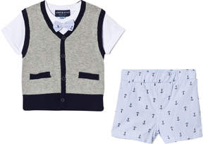 Andy & Evan Grey Sweater with White T-shirt and Anchor Shorts
