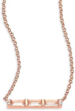 Ef Collection Women's Diamond, White Topaz Baguette & 14K Rose Gold Mini Bar Necklace