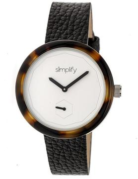 Simplify The 3700 SIM3702 Brown and Black Leather Analog Watch