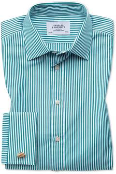Charles Tyrwhitt Classic Fit Bengal Stripe Green Cotton Dress Shirt French Cuff Size 15.5/34