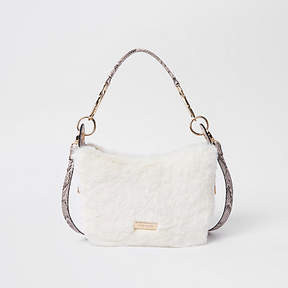River Island Cream zip faux fur scoop cross body bag