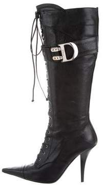 Christian Dior Leather Lace-Up Boots