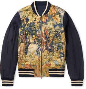 Dries Van Noten Reversible Shell And Printed Satin Bomber Jacket