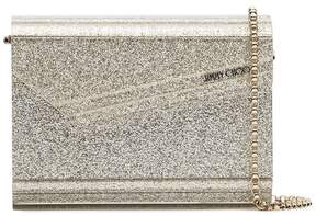 Jimmy Choo silver metallic Candy glitter clutch bag