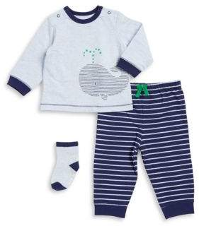 Little Me Baby Boy's Three-Piece Whale Top, Pants, and Socks Set