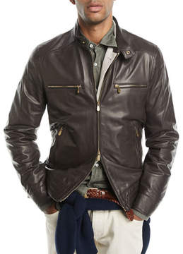 Brunello Cucinelli Leather Jacket with Zip Pockets