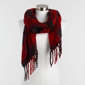 World Market Red and Black Fuzzy Plaid Scarf