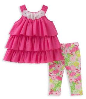 Kids Headquarters Baby Girl's Two-Piece Tiered Cotton Tunic and Capri Pants Set