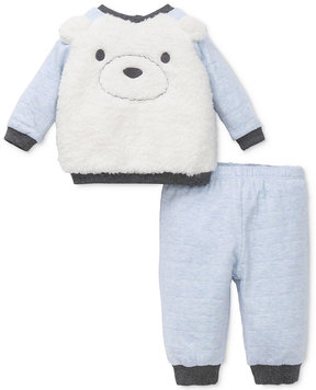 Little Me 2-Pc. Fuzzy Fleece Bear Face Top & Pants Set, Baby Boys (0-24 months)