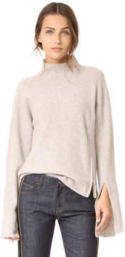 Derek Lam 10 Crosby Mockneck Sweater with Slit Detail