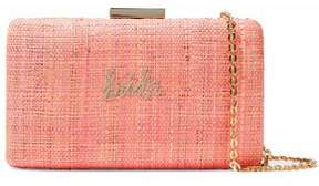 Kayu Embroidered Metallic Straw Clutch