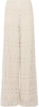 Alice + Olivia Alice Olivia - Athena Embroidered Silk-voile Wide-leg Pants - Ecru