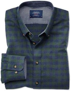 Charles Tyrwhitt Slim Fit Button-Down Soft Cotton Green and Blue Check Casual Shirt Single Cuff Size Large