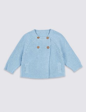 Marks and Spencer Pure Cotton Double Breasted Cardigan