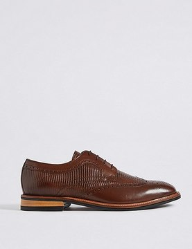 Marks and Spencer Leather Contrast Sole Brogue Shoes
