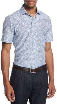 Ermenegildo Zegna Pixel-Print Cotton-Silk Short-Sleeve Shirt, Blue/Black