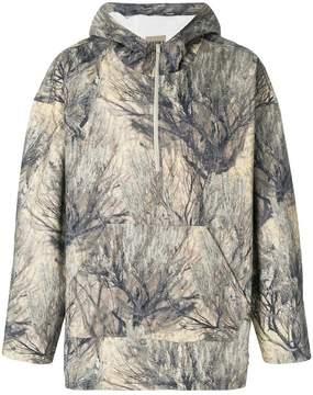 Yeezy zipped printed hoodie