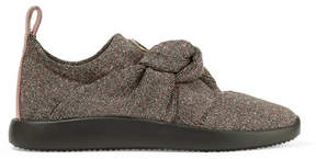Giuseppe Zanotti Natalie Glittered Stretch-knit Slip-on Sneakers - Gray