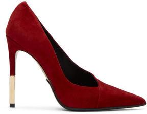 Balmain Red Suede Agnes Heels