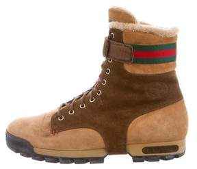 Gucci Web-Trimmed Shearling-Lined Boots