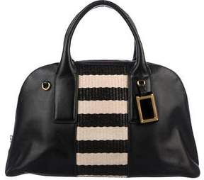 Marc Jacobs Raffia-Trimmed Leather Satchel