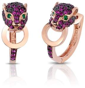Effy Jewelry Effy Signature 14K Rose Gold Ruby, Black Diamond and Emerald Earrings