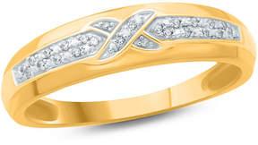 Zales Men's 1/20 CT. T.W. Diamond Criss-Cross Wedding Band in 10K Gold