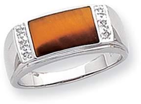 Ice 14k White Gold Tigers Eye & A Quality Diamond Mens Ring