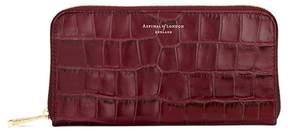 Aspinal of London Continental Clutch Zip Wallet In Deep Shine Bordeaux Croc