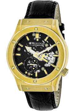 Heritor Automatic Gemini Mens Skeleton Dial Leather-Gold/Black Watches