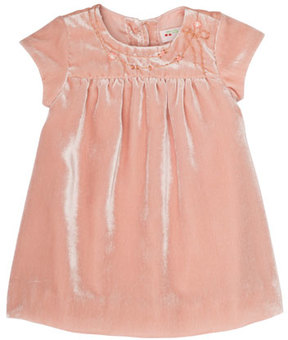 Bonpoint Velvet Flower-Embroidery Babydoll Dress, Size 6 Months-2T
