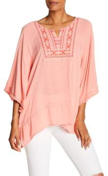 Democracy Embroidered 3/4 Length Sleeve Top