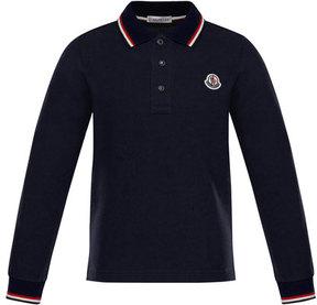 Moncler Long-Sleeve Stripe-Trim Polo, Size 4-6