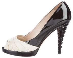 Oscar de la Renta Patent Leather Peep-Toe Pumps