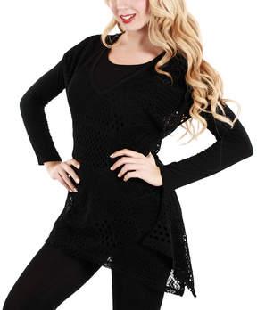 Lily Black Sheer Sidetail Tunic - Women