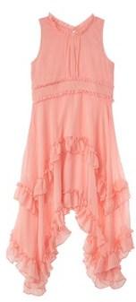 Nanette Lepore Crinkled Chiffon Peach Dress.