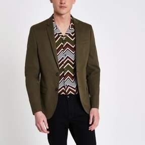 River Island Mens Khaki green skinny fit blazer